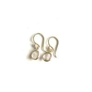 Kleine edelsteen oorbellen rond rozenkwarts 925 zilver