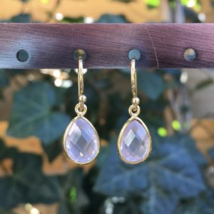 Kleine edelsteen oorbellen rozenkwarts 925 zilver verguld