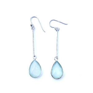 Lange edelsteen oorbellen Aqua Chalcedony druppel 925 zilver