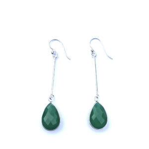 Lange edelsteen oorbellen green onyx druppel 925 zilver