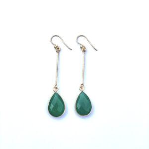 Lange edelsteen oorbellen green onyx druppel 925 zilver verguld