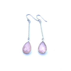 Lange edelsteen oorbellen rozenkwarts druppel 925 zilver fijne oorbellen