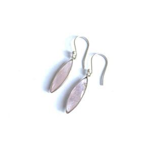 Lange edelsteen oorhangers rozenkwarts 925 zilver