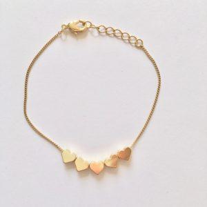 Metalen armband hartjes (goud)