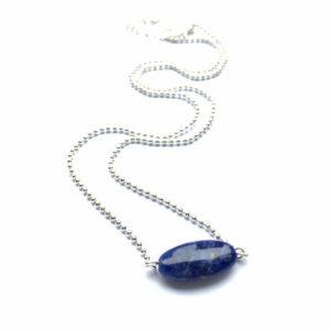 Minimalistische ketting met lapis lazuli zilver