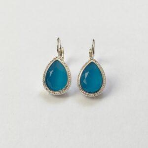Oorhangers met Swarovski fel blauw, rand, zilver