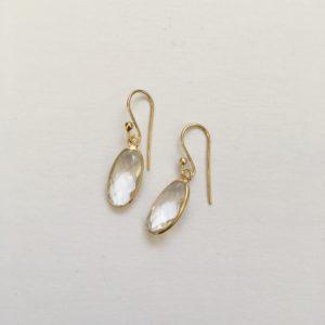 Ovalen edelsteen oorhangers mountain crystal 925 zilver verguld goud