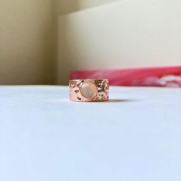 Ring met natuursteen rosé goud