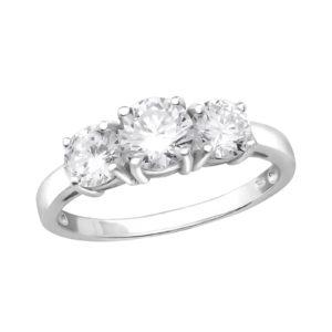 Shiny zilveren ring met 3 zirkonia groot maat 7 (M,17)