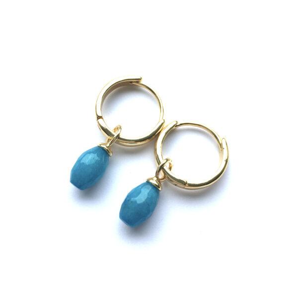 Sieraden set Blue goud oorbellen