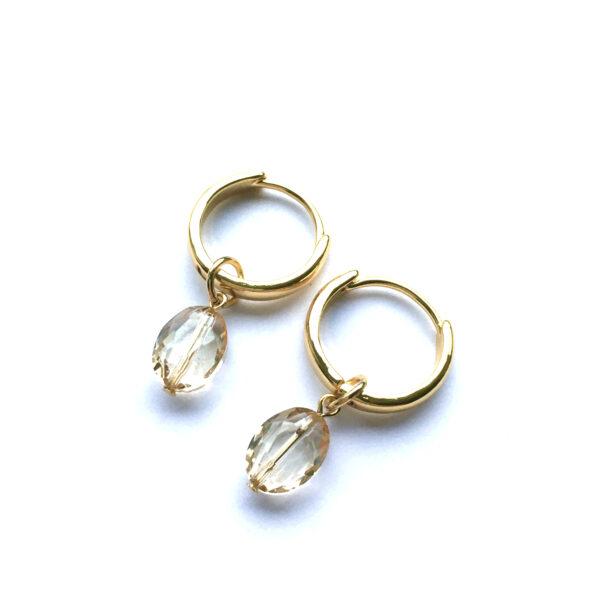 Sieraden set Kwarts goud oorbellen