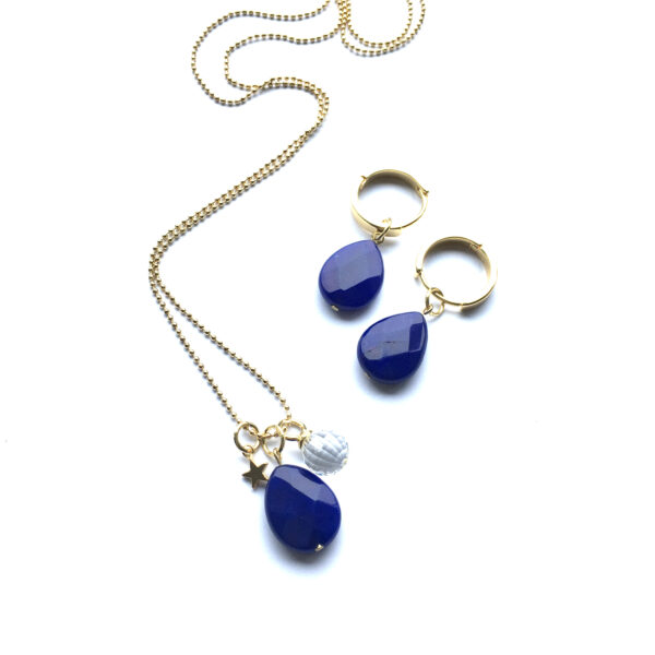 Sieraden set Marine Blauw natuursteen goud