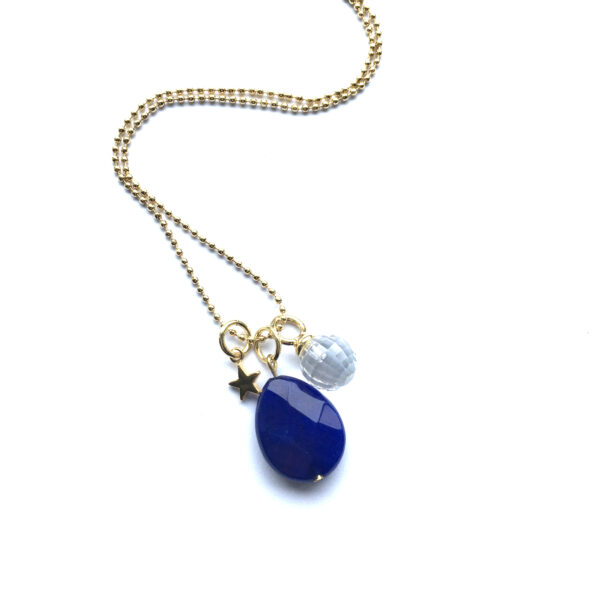 Sieraden set Marine Blauw natuursteen goud lange ketting bolletjesketting