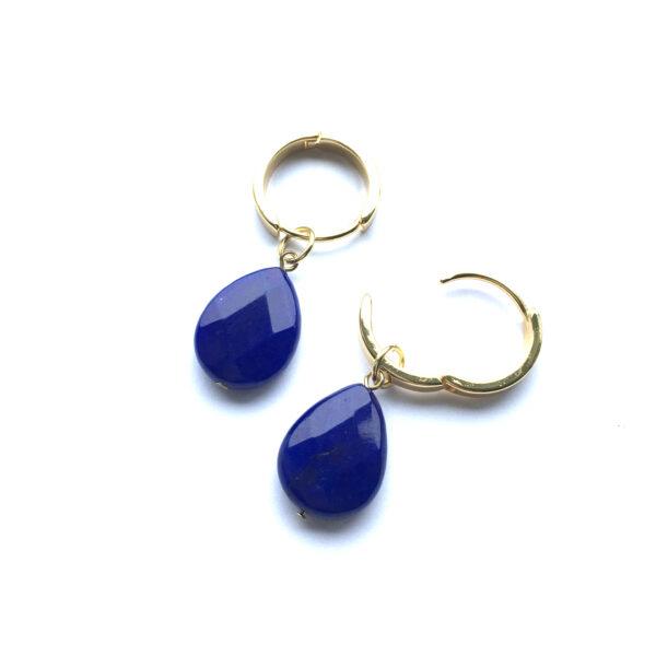 Sieraden set Marine Blauw natuursteen goud oorbellen open