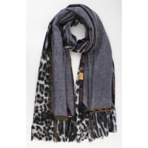Sjaal grijs dierenprint paars geel