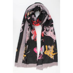 Sjaal met bloemenprint grijs multi