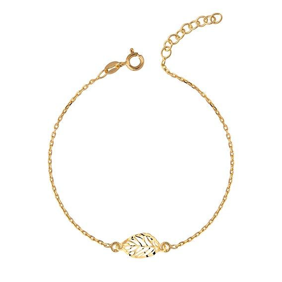 Zilveren armband met blad bedel fijn gold plated
