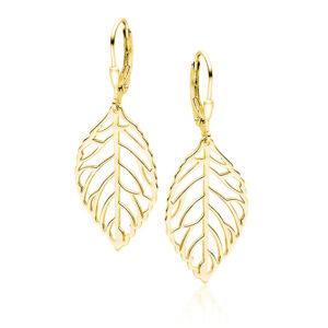Zilveren blaadje oorhangers goud