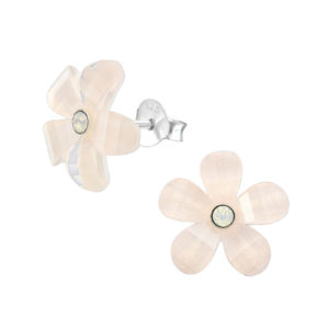 Zilveren bloem oorknoppen met Swarovski steen