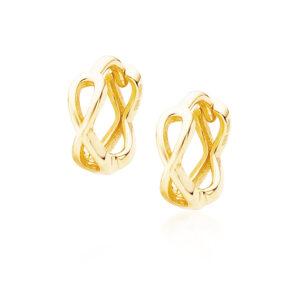 Zilveren infinity oorbellen mini goud