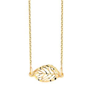 Zilveren ketting met blad bedel fijn gold plated