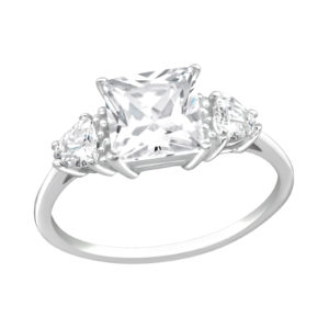Zilveren klassieke ring met vierkante zirconia maat 7