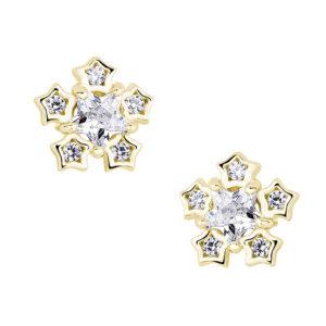Zilveren oorknoppen sneeuwvlok zirconia goud