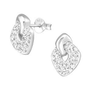 Zilveren oorstekers gevlochten