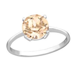 Zilveren ring met Swarovski kristal licht champagne