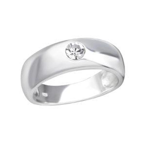 Zilveren statement ring met zirconia maat 8