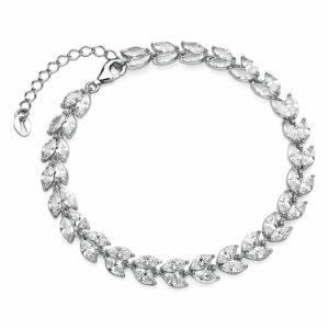Zirkonia armband blad 925 zilver