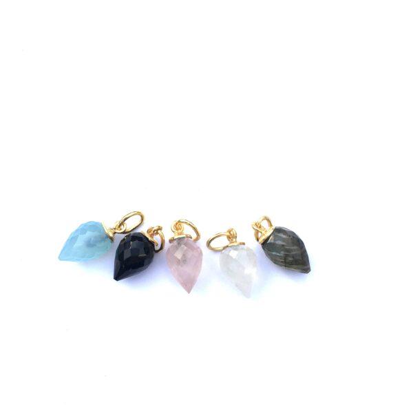ketting hanger rozenkwarts, aqua chalcedony, labradoriet, maansteen en zwarte onyx