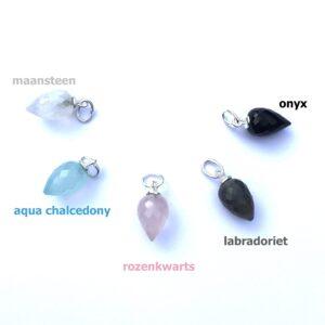 ketting hanger rozenkwarts, aqua chalcedony, labradoriet, maansteen en zwarte onyx zilver 2