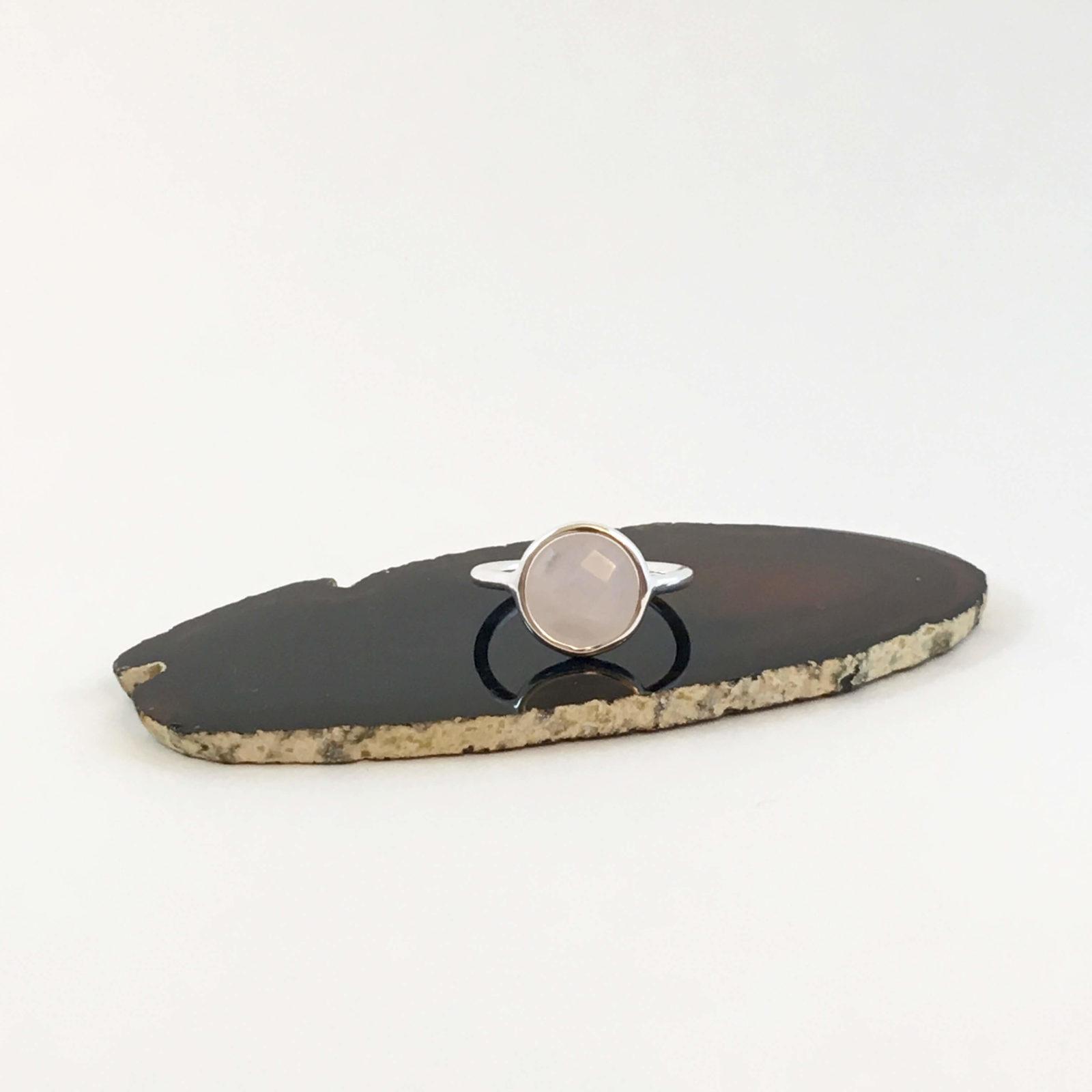 ring met rozenkwarts zilver
