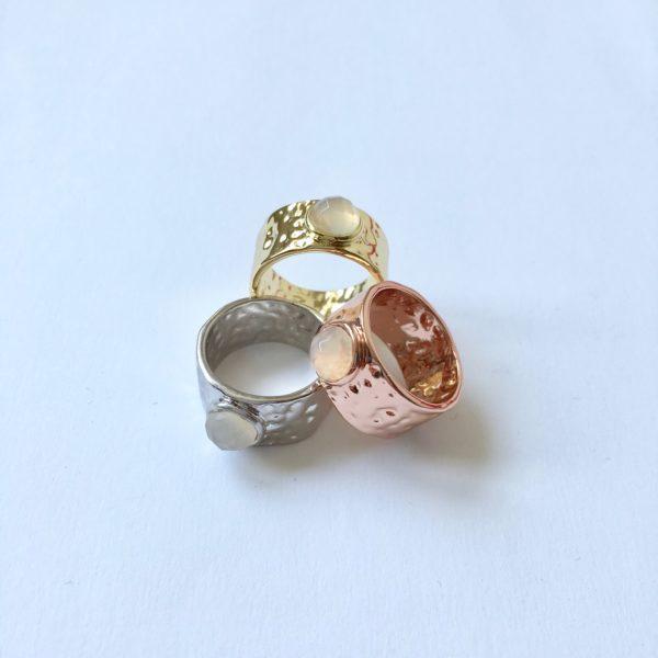 statement ring zilver goud rose goud met natuursteen